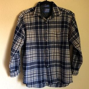 PLAID PENDLETON WOOL BUTTON UP TOP